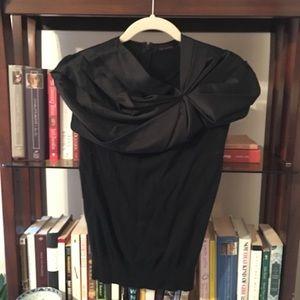 Black satin collar top